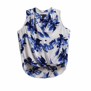 NWT INC White Floral Print Faux-Wrap Blouse